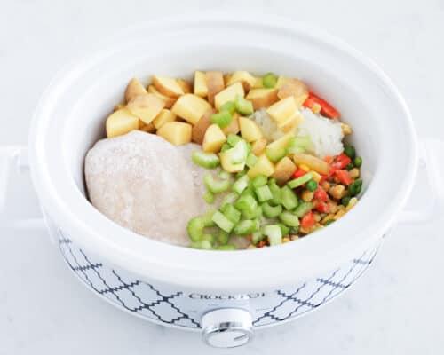 chicken vegetable soup ingredients in crockpot