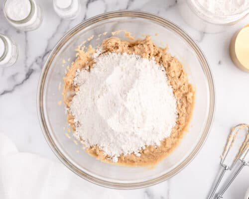cookie dough and flour in bowl