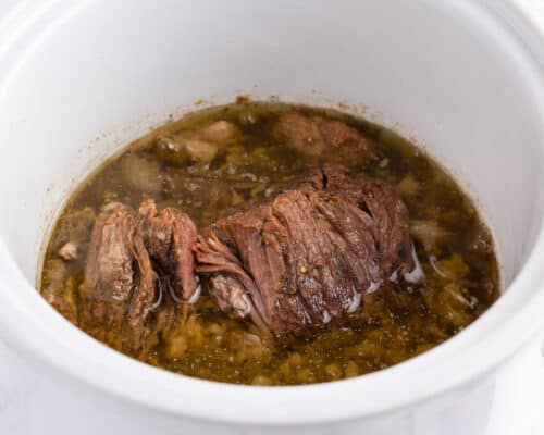 roast in crock pot with green chiles