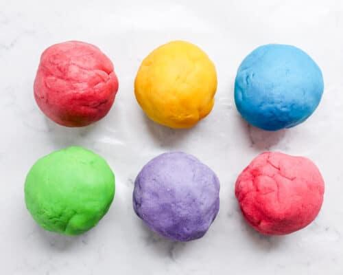 play dough balls on counter