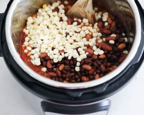 stirring beans and corn in instant pot