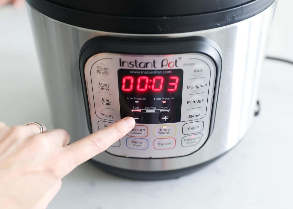 pressing instant pot to 3 minutes