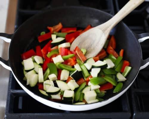 cooking vegetables in skillet