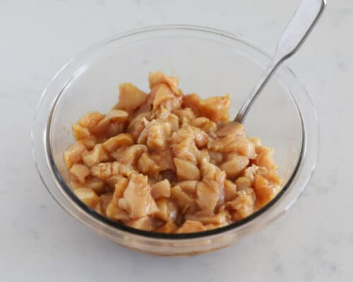 chicken with sauce in bowl