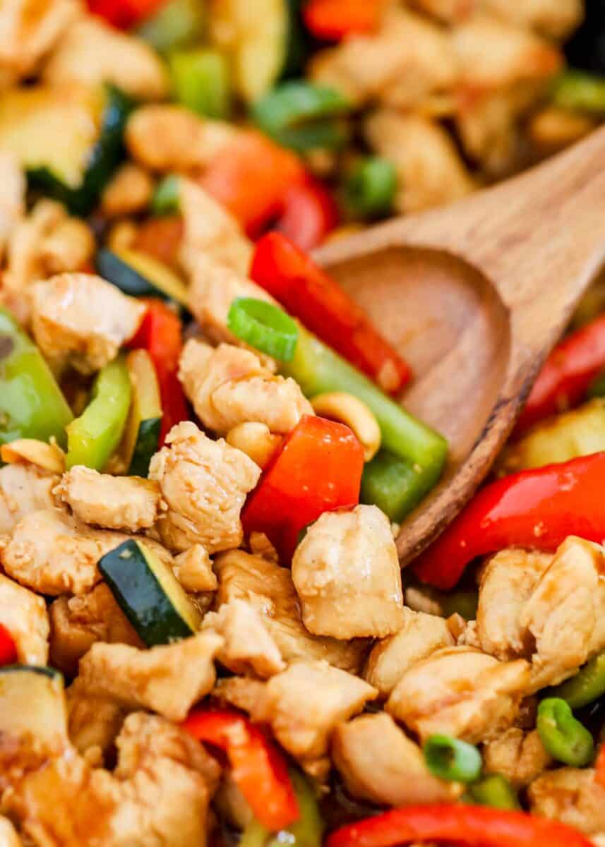 spoonful of kung pao chicken