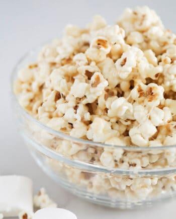 marshmallow popcorn in glass bowl