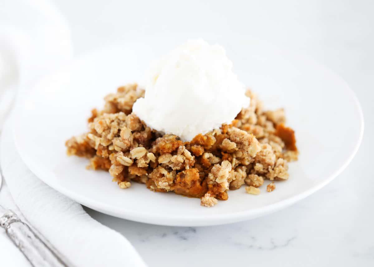pumpkin crisp on white plate