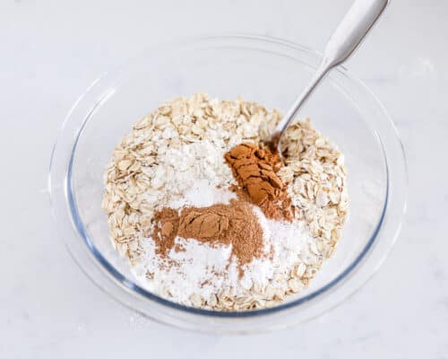 mixing oats and spices in bowl