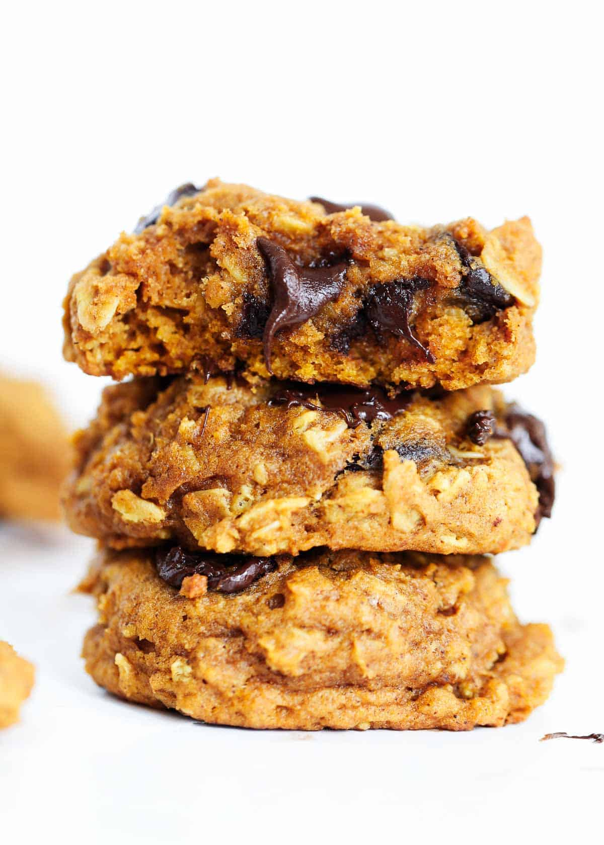 stack of pumpkin oatmeal chocolate chip cookies