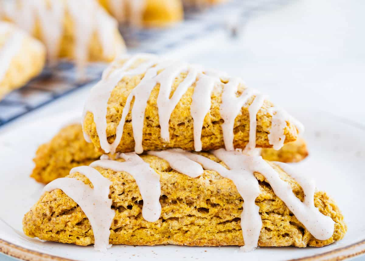 stacked pumpkin scones on plate
