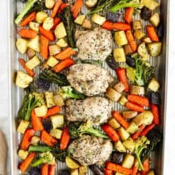chicken and vegetables on sheet pan