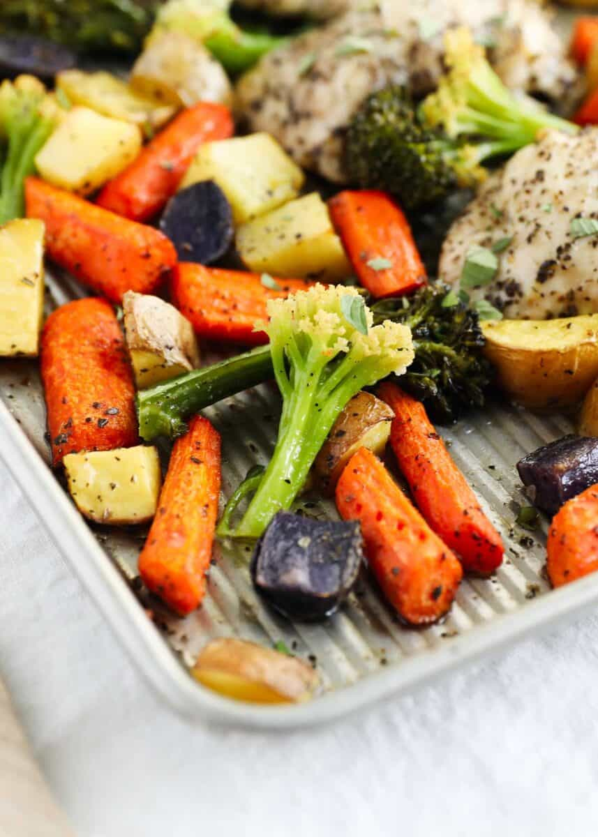roasted vegetables on pan