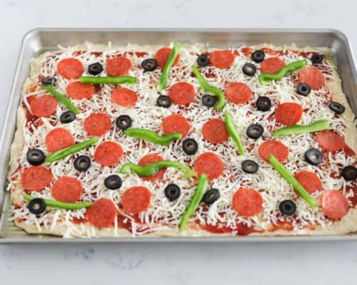 pizza ready to bake in pan