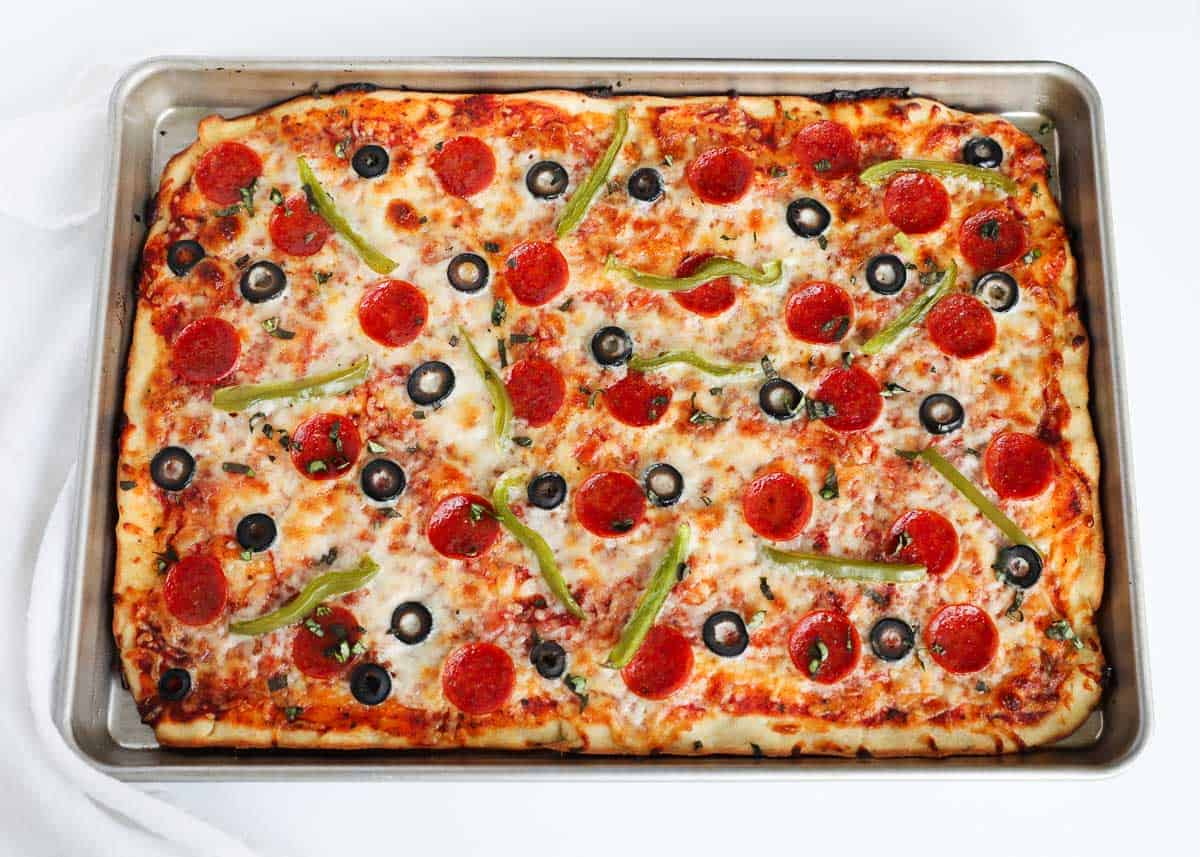 baked pizza in sheet pan