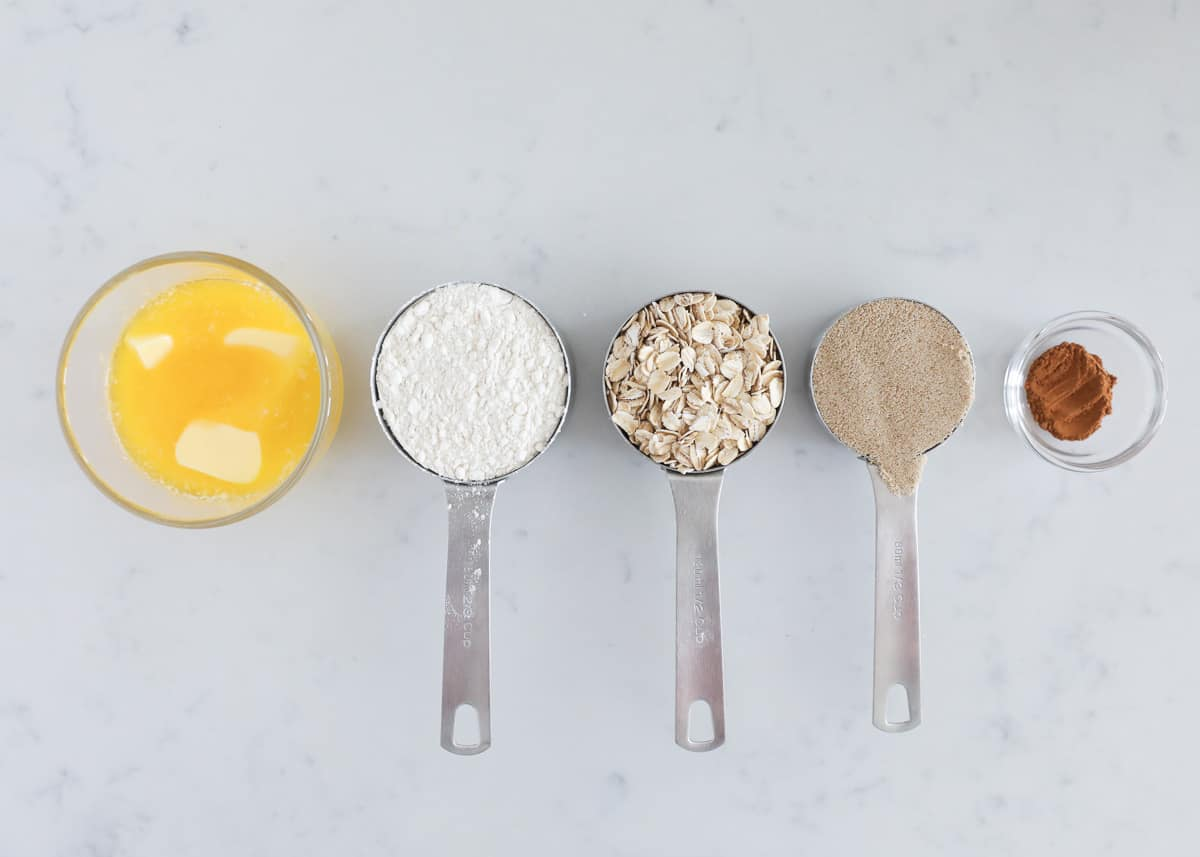 streusel ingredients on counter