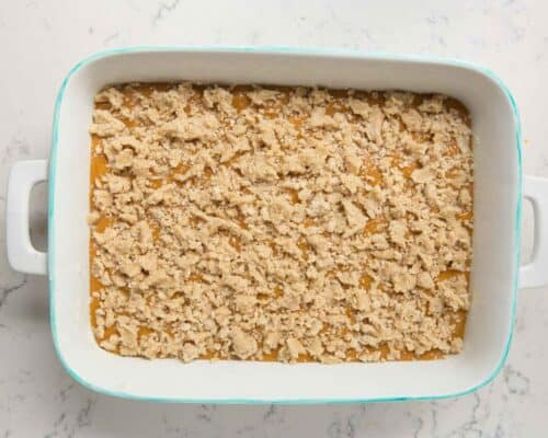 crumb topping on top of pumpkin cake