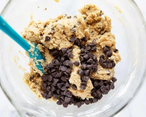 chocolate chip cookie dough in bowl