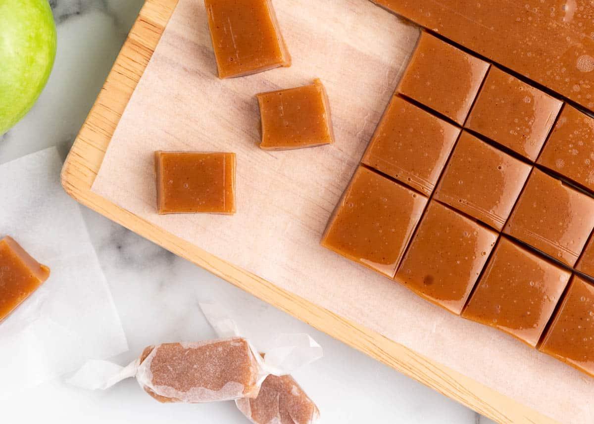 cutting caramels on board