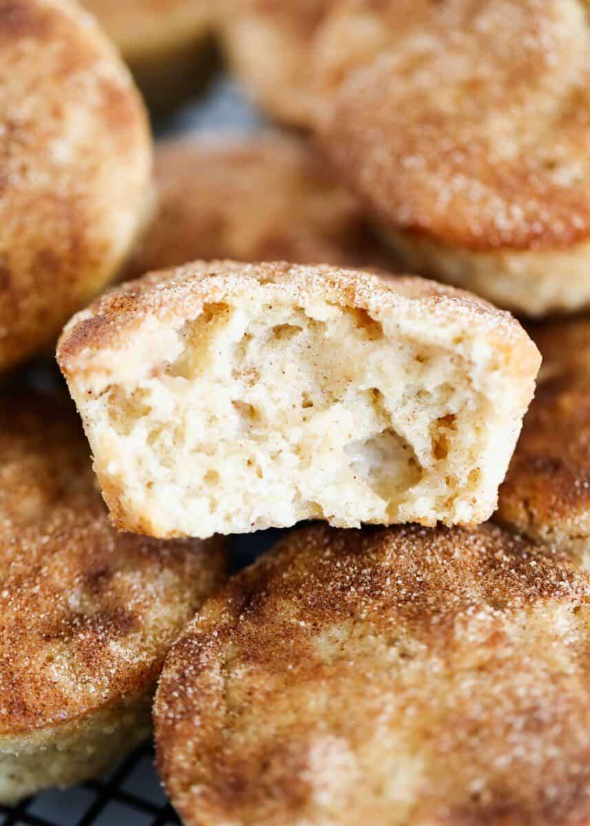 bite taken from apple cinnamon muffins