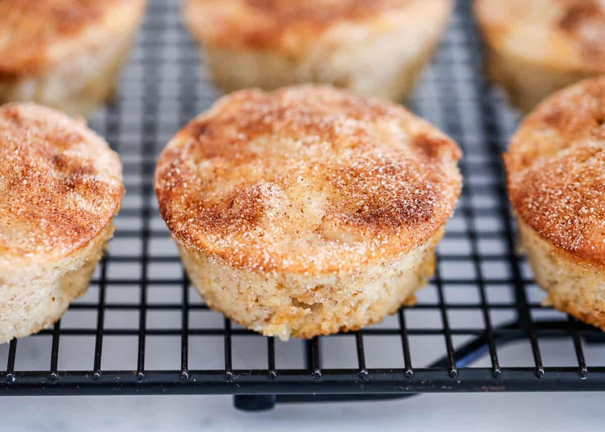 cinnamon apple muffins on cooling rack