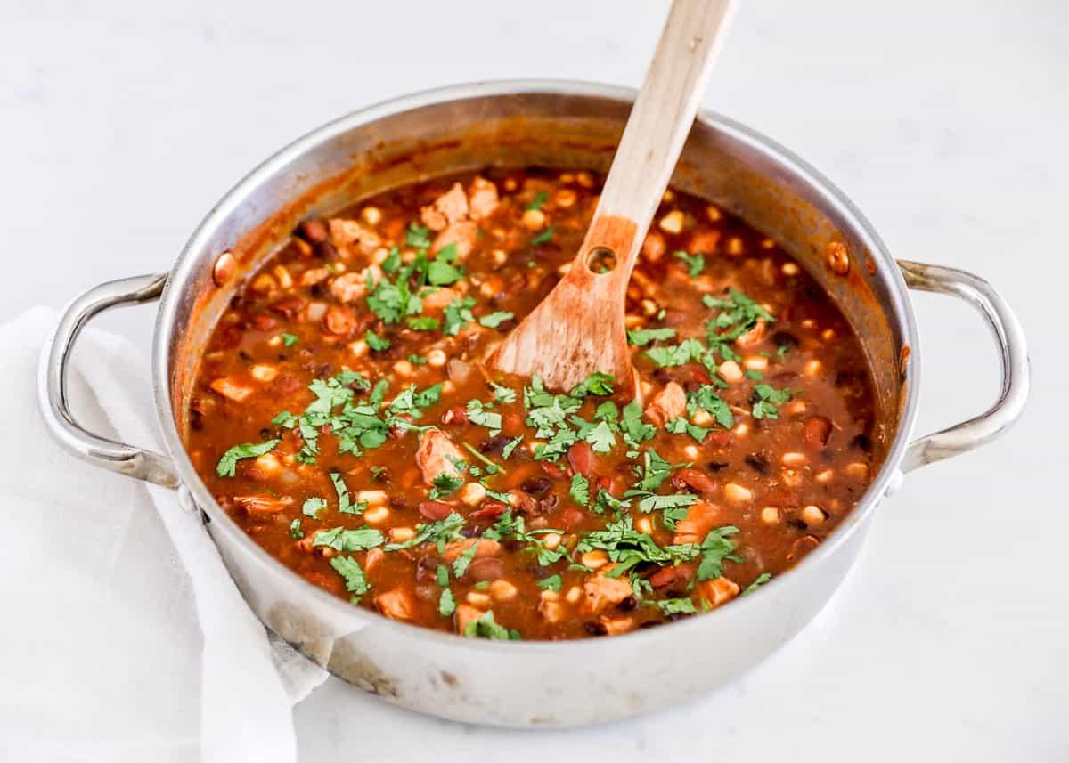 chicken tortilla soup in skillet