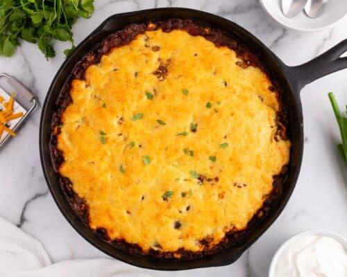 chili cornbread skillet on counter