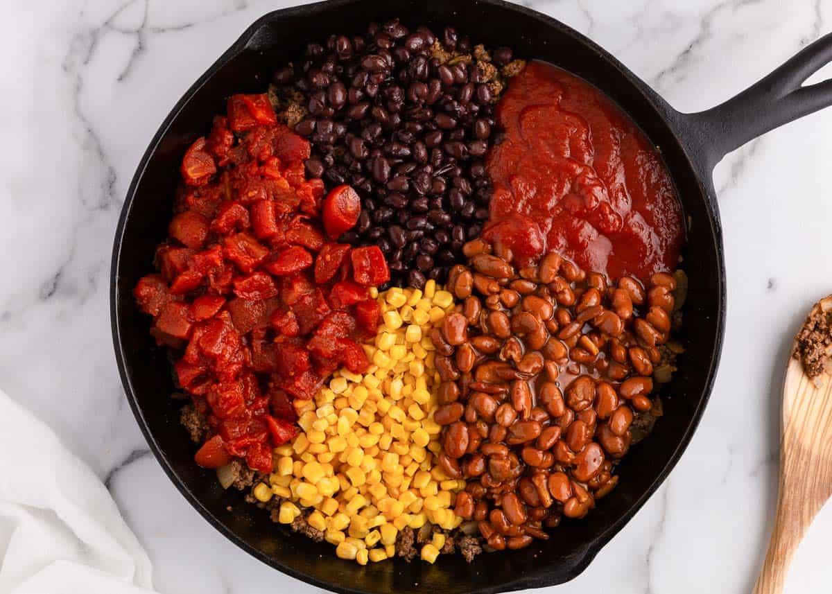 chili ingredients in skillet