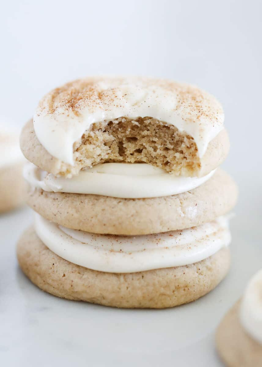 stacked cinnamon roll cookies on counter