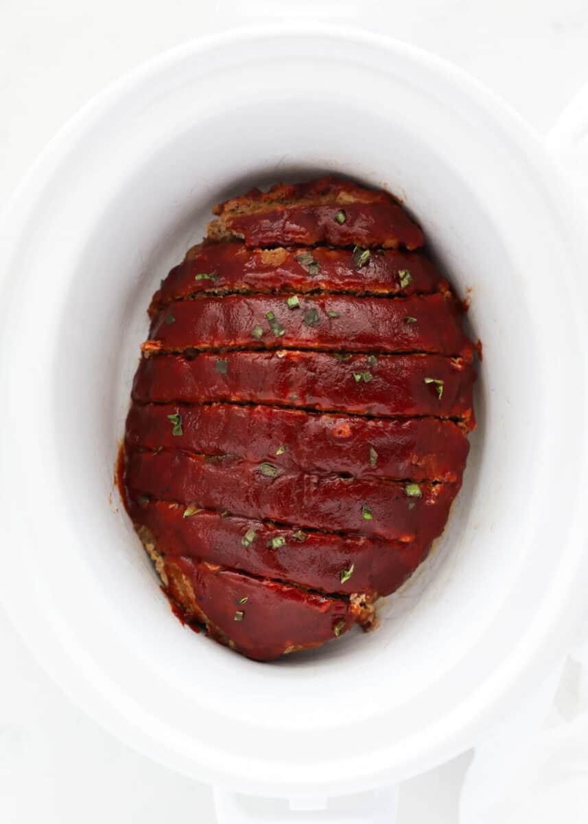 meatloaf sliced in crockpot