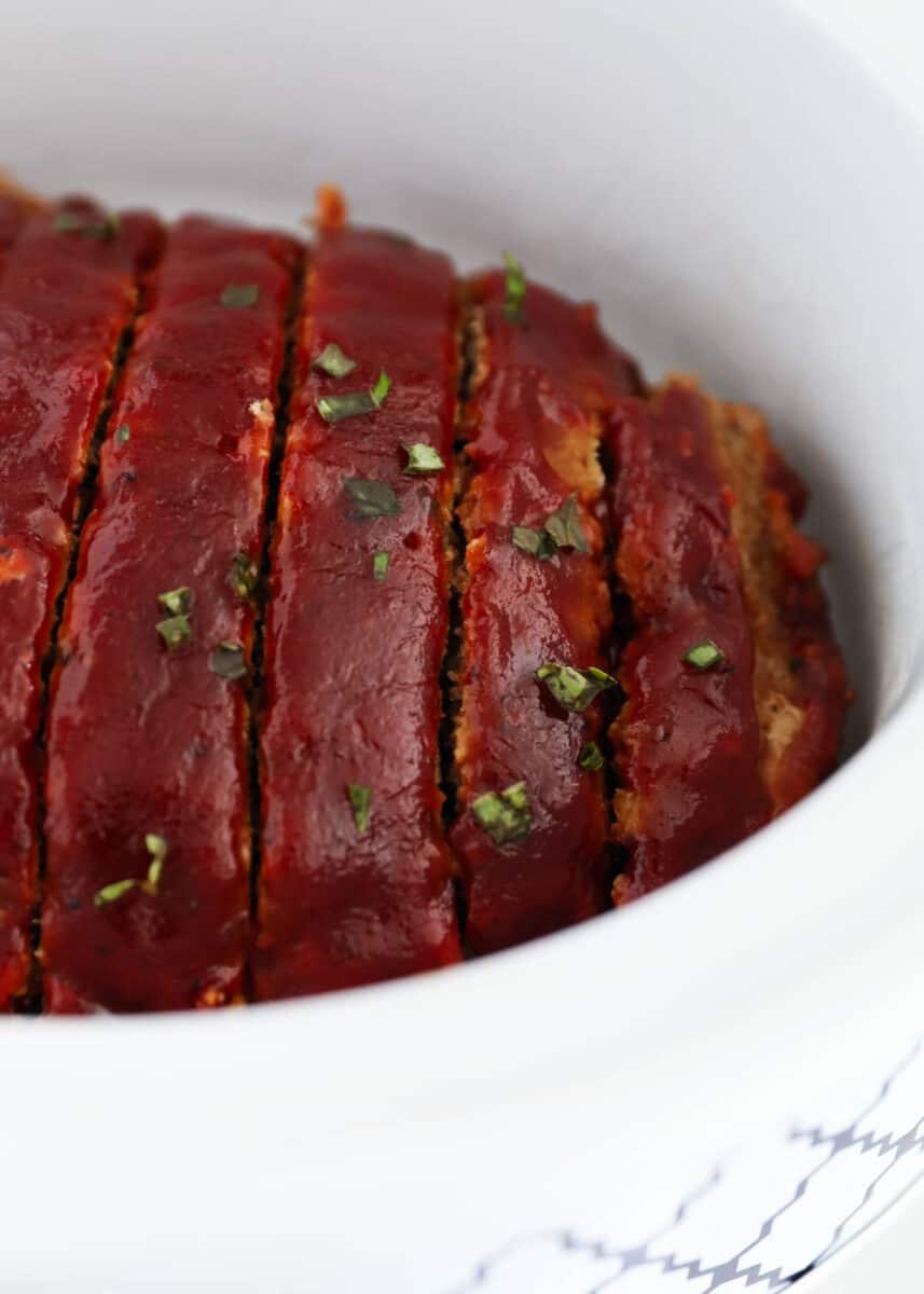 sliced meatloaf in crockpot