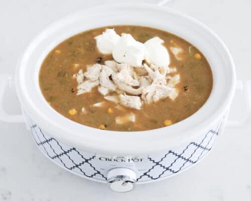 green enchilada chicken soup in slow cooker
