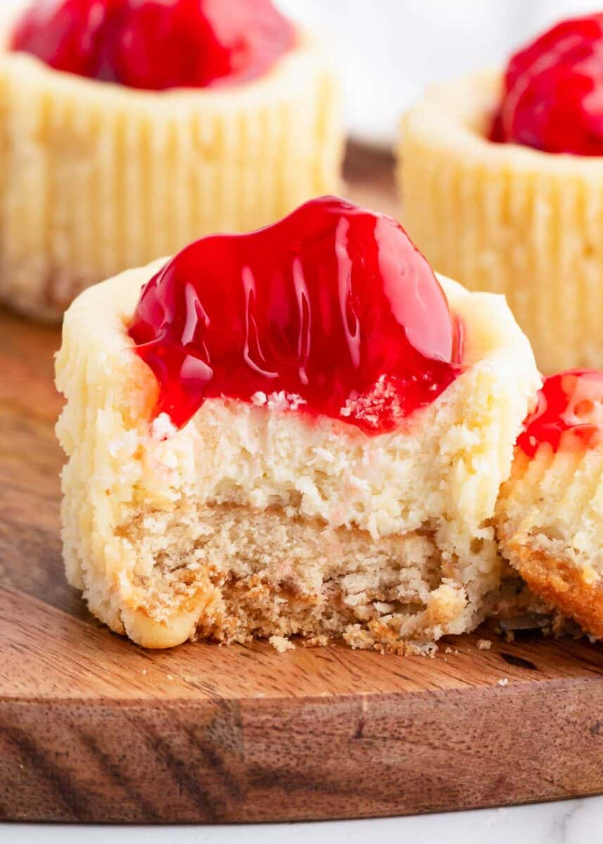 Bit taken from mini cheesecake with vanilla wafers