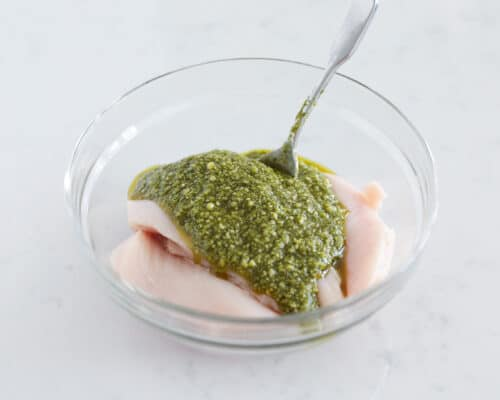 chicken with pesto in bowl