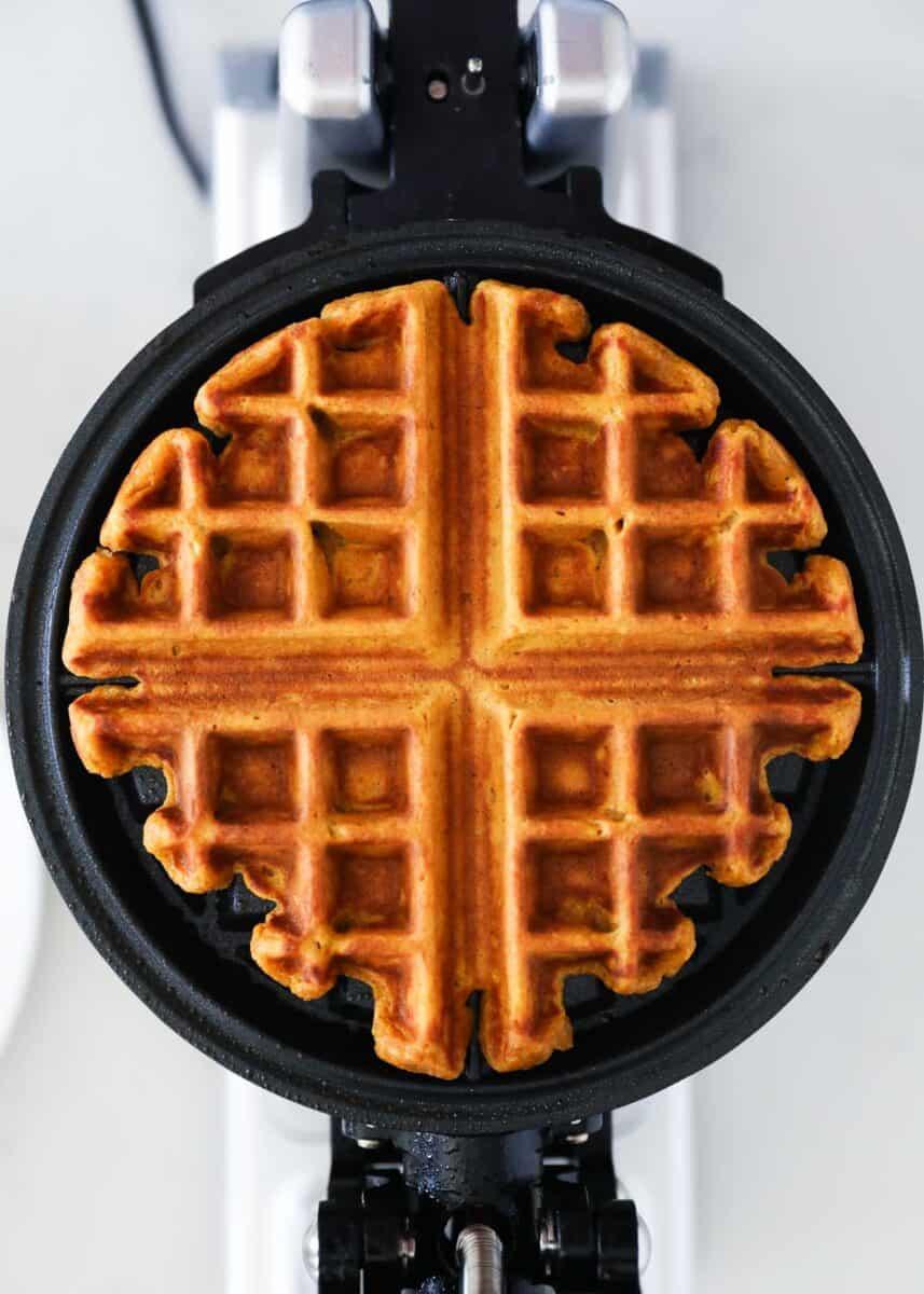 pumpkin waffle on iron