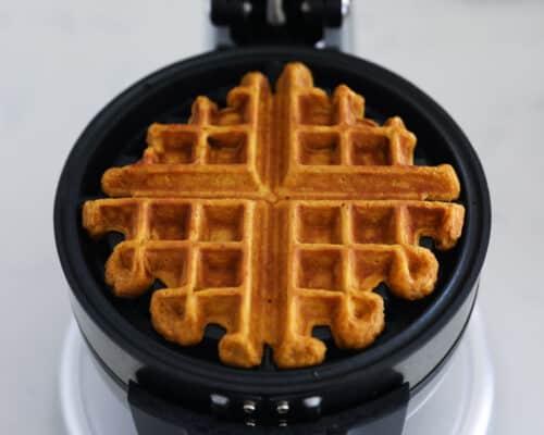 cooking waffle on iron