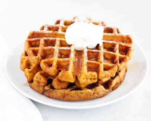 pumpkin waffles on white plate
