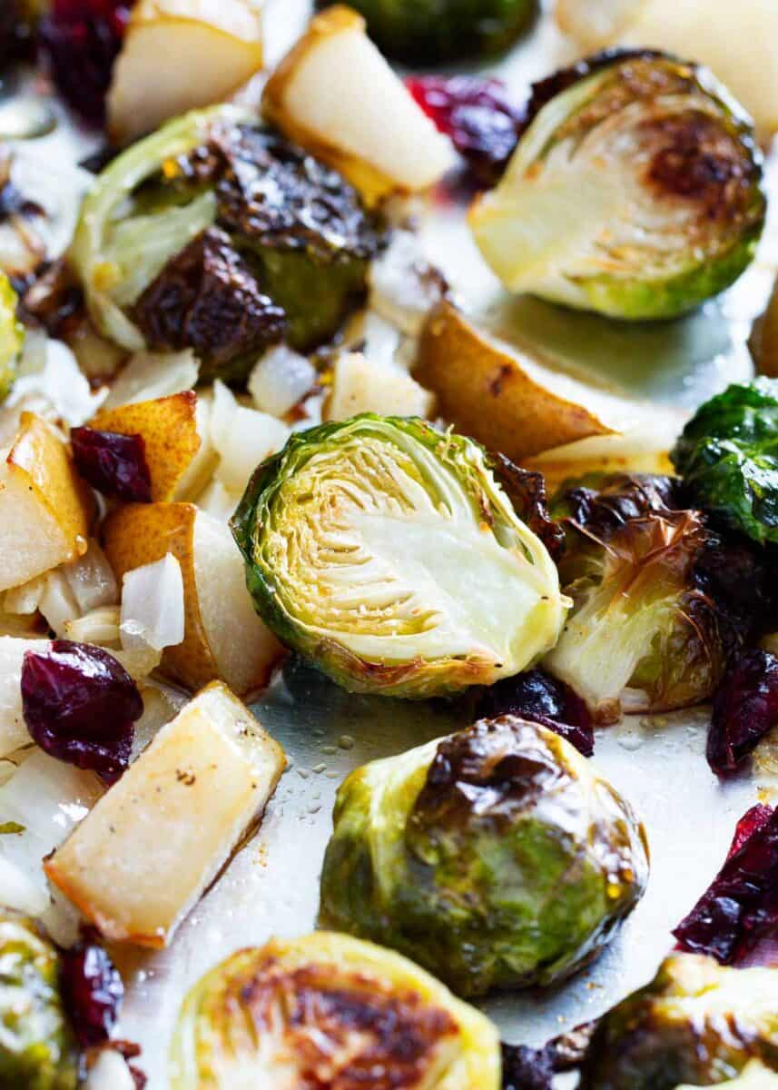 roasted brussel sprouts with cranberries on pan