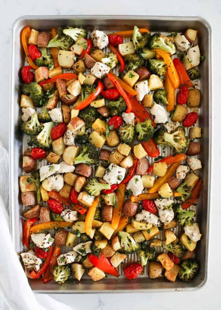 chicken and vegetables cooked on sheet pan