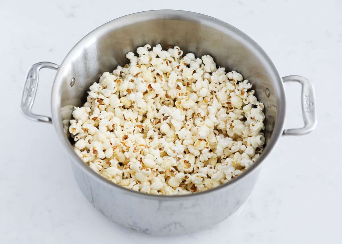 popcorn in pot on counter