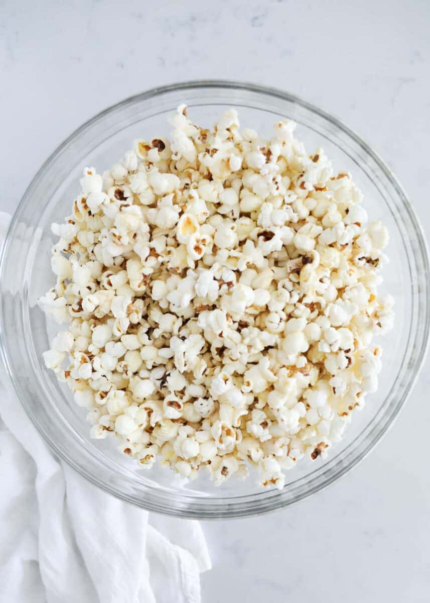 popcorn in glass bowl on counter