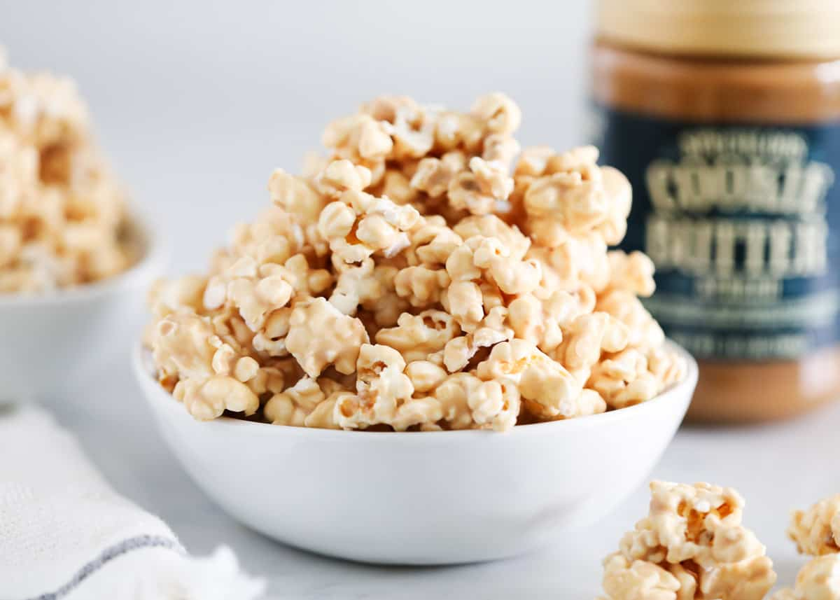 cookie butter popcorn in bowl