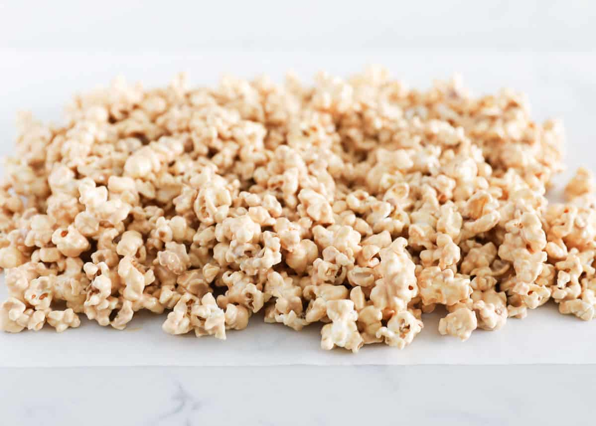 cookie butter popcorn on counter