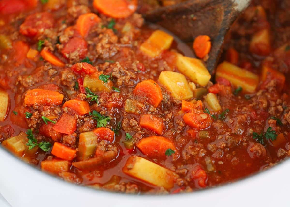 ground beef vegetable soup in pot