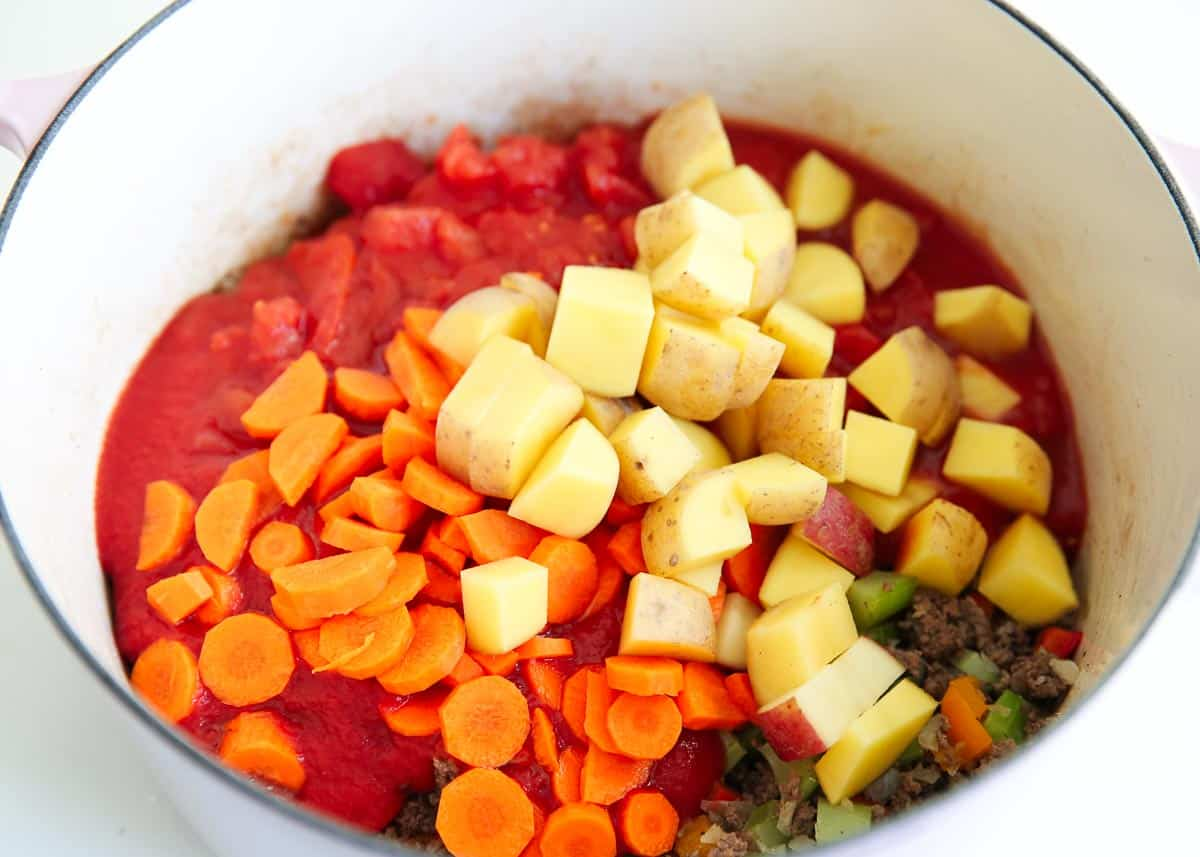 vegetables and beef in pot