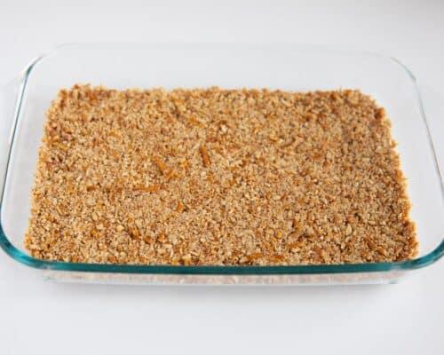 pretzel crust in glass pan