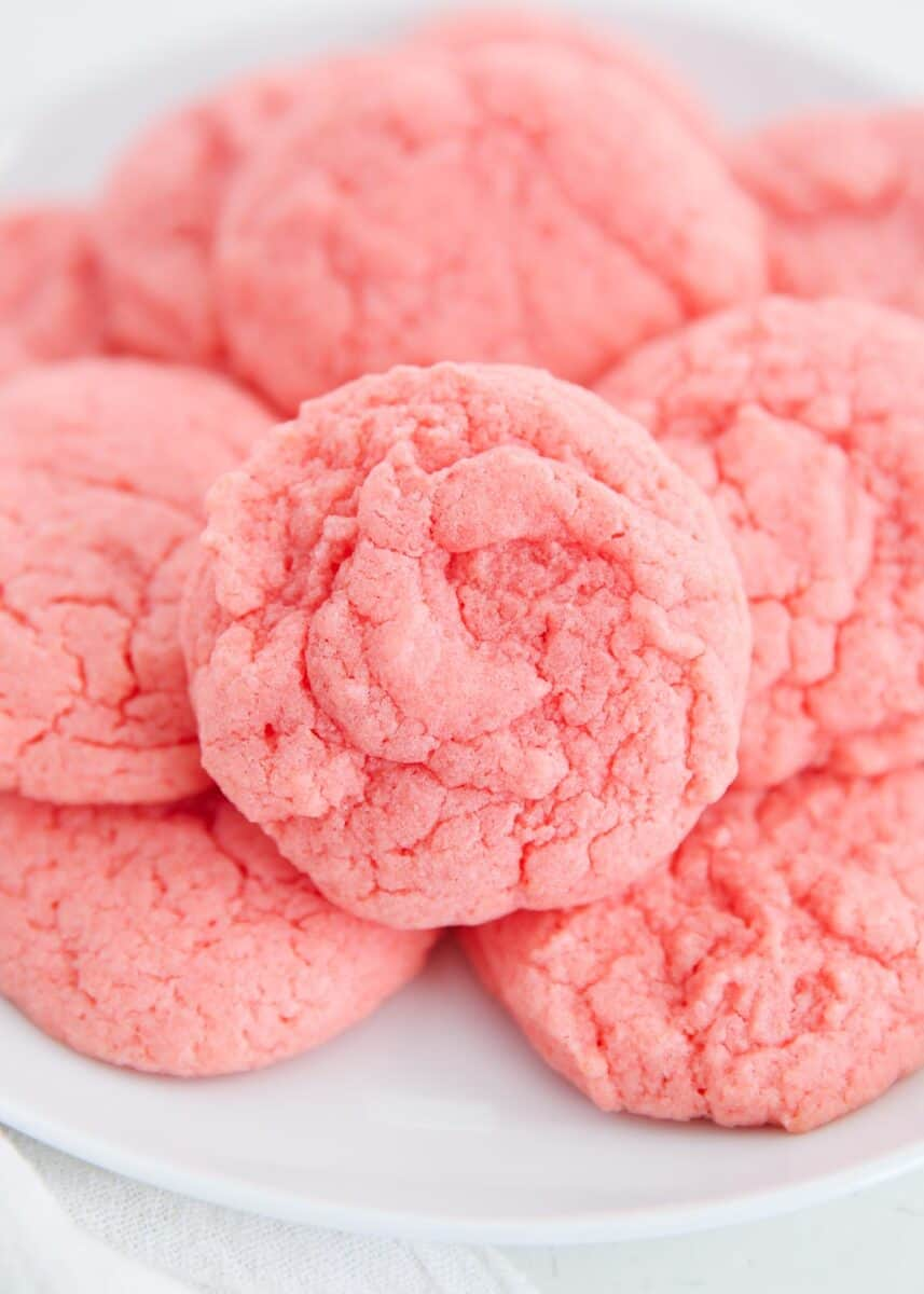 stacked strawberry cake mix cookies