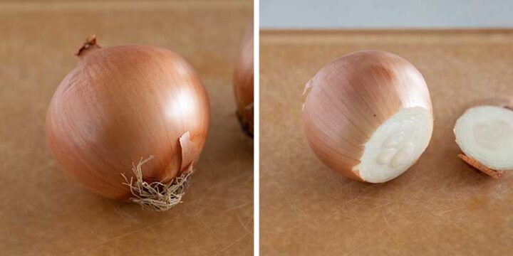 cutting the ends of an onion