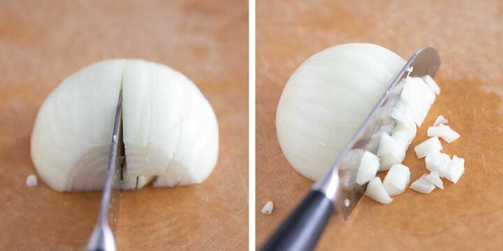 dicing an onion with a knife