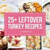 collage of leftover turkey recipes