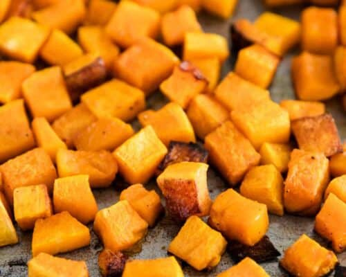 oven roasted butternut squash on baking sheet